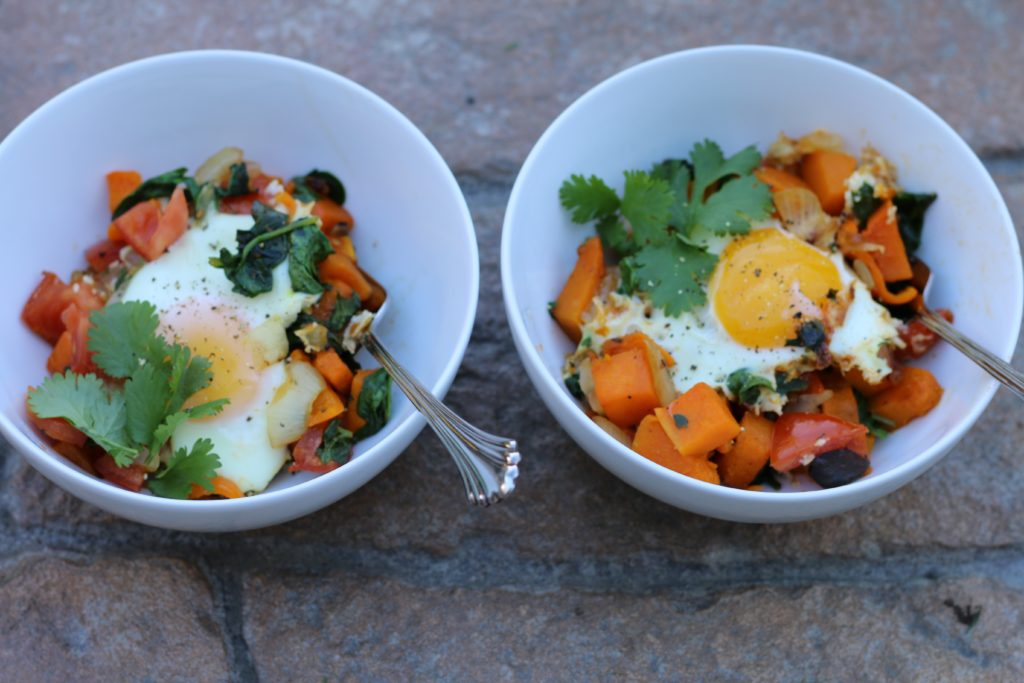 Butternut Squash Hash with Eggs Over Easy
