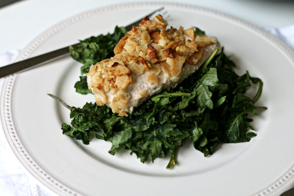 BeingBrigid Garlic Crusted Chicken-N-Kale Recipe